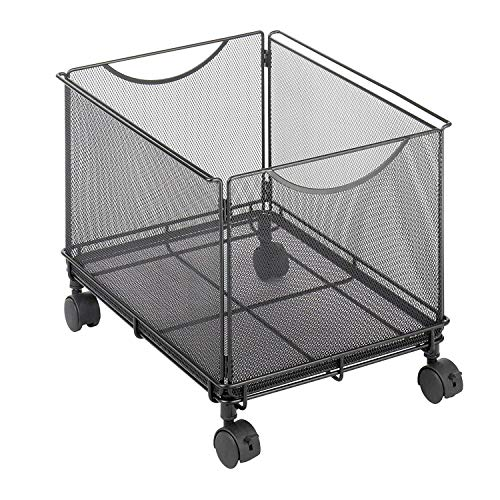 File Cube Mobile - Rolling File Cabinet for Letter Size Files, File Folder Cube Cart on Wheels, Durable Steel Mesh Mobile Filing Storage Caddy with Casters, Mesh Office File Letter Cabinet Organizer