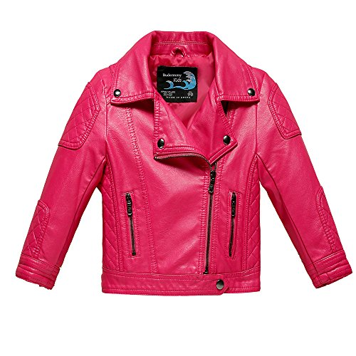 Budermmy Baby Girls Motorcycle Coat Toddler Winter Leather Jacket Pink Size 3T