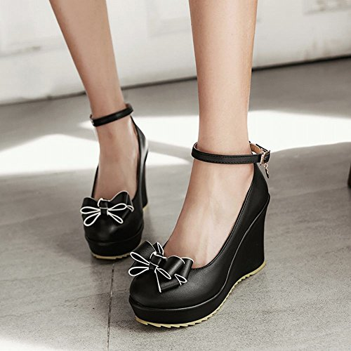 Carolbar Women's Lovely Sweet Bow Wedge High Heel Buckle Court Shoes Black ENEZcz4
