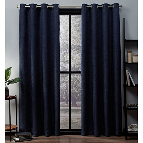 (Exclusive Home Curtains Oxford Textured Sateen Thermal Window Curtain Panel Pair with Grommet Top, 52x96, Navy, 2 Piece)