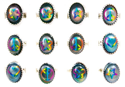 Mood Rings for Women, Girls, Teens, Tweens | 12 pieces Color Changing Assorted Motifs Oval Tie-Dye Mood Ring Tray | Great Party Favors Fashion Jewelry by Frogsac USA