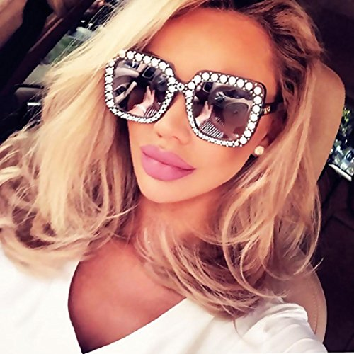 Fheaven Womens Fashion Artificial Diamond Cat Ear Quadrate Big Metal Frame Brand Classic Sunglasses - Diamond For Shape Face Female Sunglasses