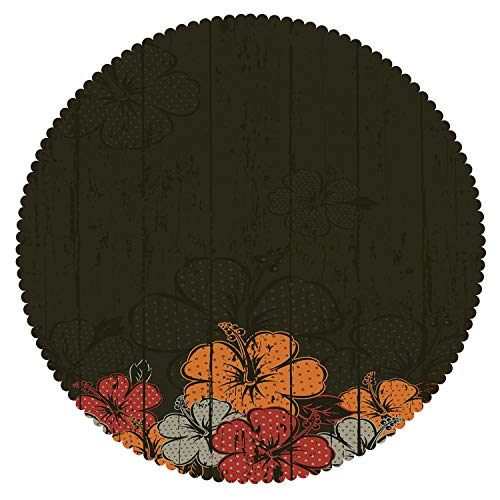 iPrint Stylish Round Tablecloth [ Floral,Abstract Wooden Backdrop with Hawaiian Romantic Flowers Buds Blooms Leaves,Amber Red Army Green ] Decorative Tablecloth Ideas