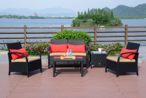Cloud Mountain 5PC Rattan Wicker Sofa Set Cushioned Sectional Outdoor Garden Love Seat Chair Glass Top Table, Black Rattan with Khaki Cushions price