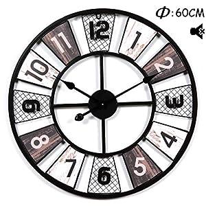 Searchyou – 60CM Relojes de Pared de Hierro Silencioso Estilo Vintage Diseño Hueco para Salón Dormitorio Negro