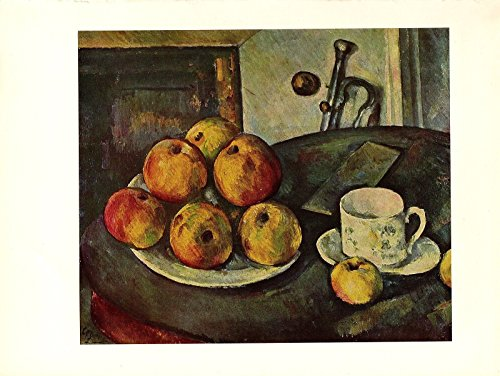 1963 Vintage Cezanne Still Life with Apples Color Offset Art Print Lithograph (Cezanne Still Life Apples)