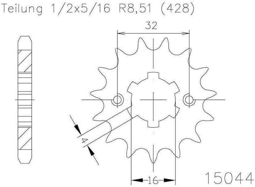 1//2x5//16 Ritzel 14 Z/ähne Stahl 428er Teilung f/ür Yamaha YZF-R 125 RE11 2014-2014