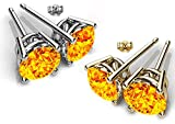 Swarovski Elements Crystals Yellow Topaz Color Designer Stud Earrings for Women and Girls by Glimmering