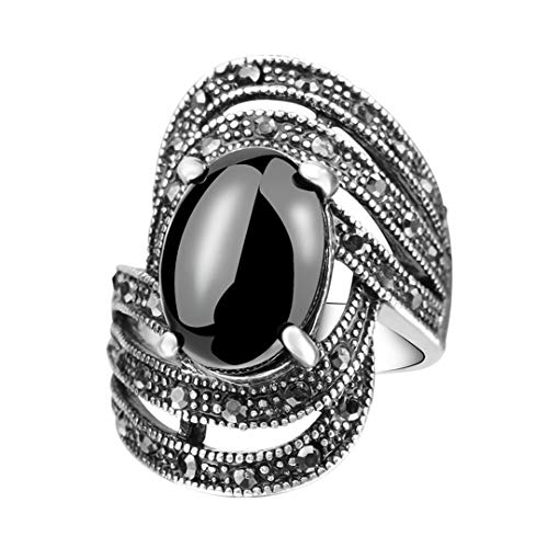 (MARRLY.H Unique Vintage Fashion Black Rings for Women Tibet Silver Alloy Antique Oval Angel Wings Ring Green 8)