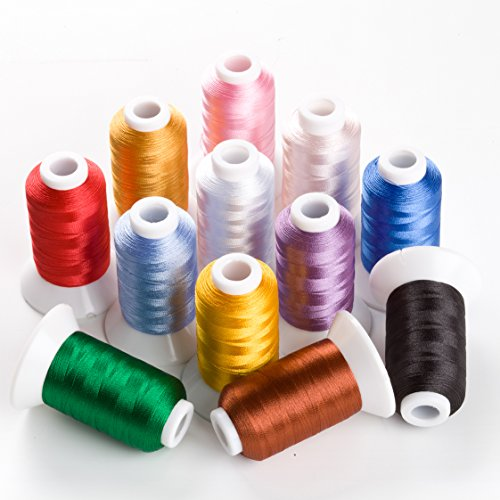 Sinbel Polyester Embroidery Thread 12 Colors 550 Yards Per Spool For Brother Babylock Janome Singer Pfaff Husqvaran Bernina (Polyester Thread 12 Spools)