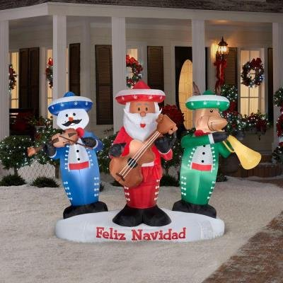 Decoration Lawn Yard Inflatable Animated Lighted Mariachi Band Christmas Dances