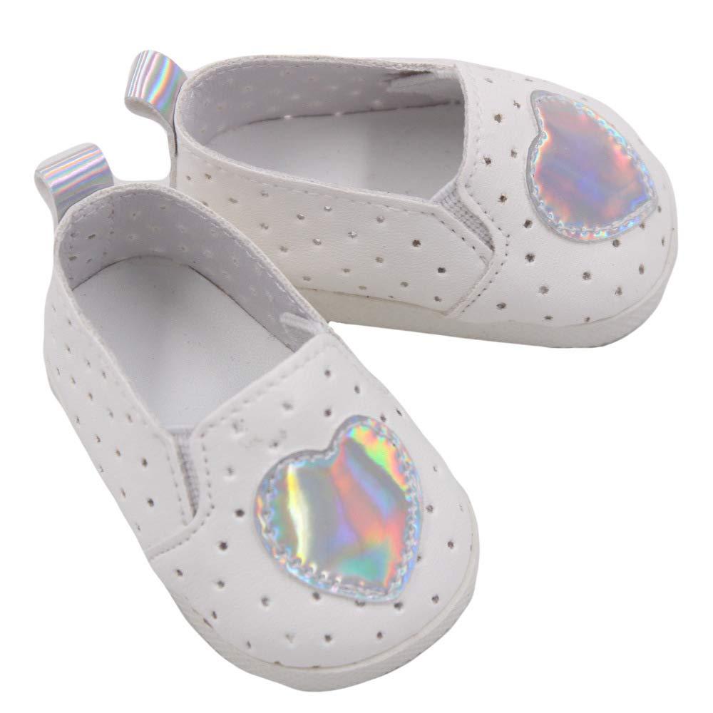 Yiwa Accesorio de mu/ñeca Zapatos de mu/ñeca de 18 Pulgadas Accesorio de Zapatos de mu/ñeca de Lona 7cm Blanco