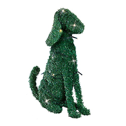 Collections Lighted Boxwood Topiary Animal Dog Sculpture Outdoor Decoration, Tall by Collections