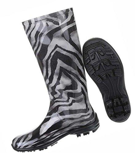 Damen Schuhe Stiefel Regenstiefel Mit Muster Gummi Schwarz