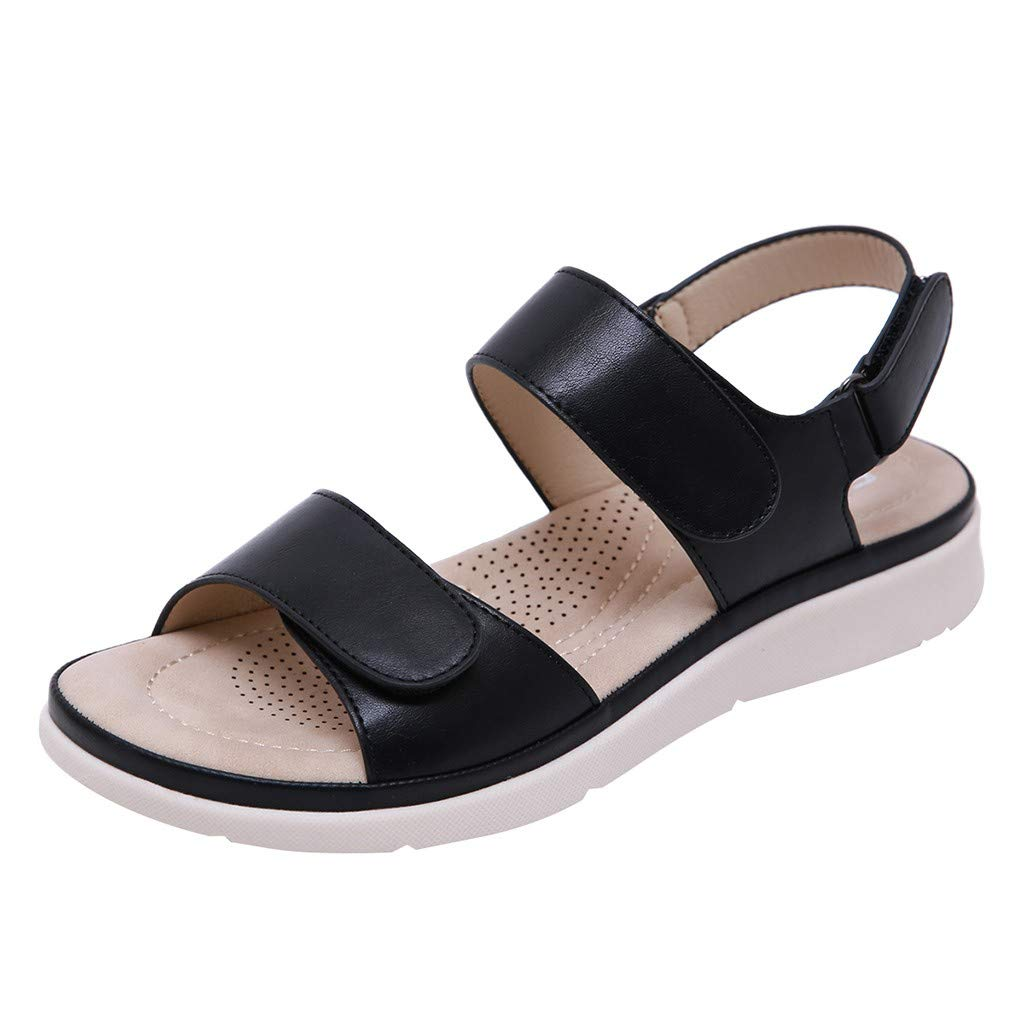 ✔ Hypothesis_X ☎ Women's Low Wedge Sandal with Ankle Strap Flat Peep-Toe Low Roman Sandals Flat Shoes Summer Black
