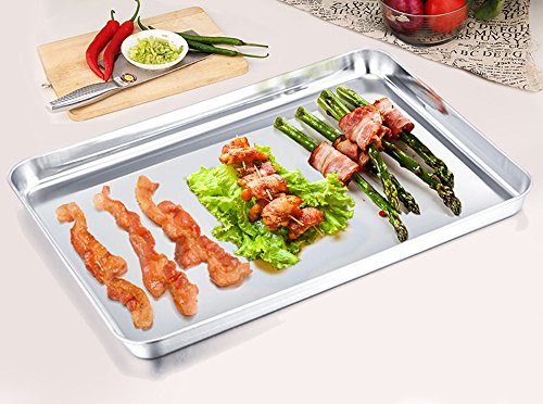 TeamFar Stainless Steel Toaster Oven Tray Pan Ovenware, 12.5''x10''x1'', Non Toxic & Healthy, Rust Free & Mirror Finish, Easy Clean & Dishwasher Safe by TeamFar (Image #1)
