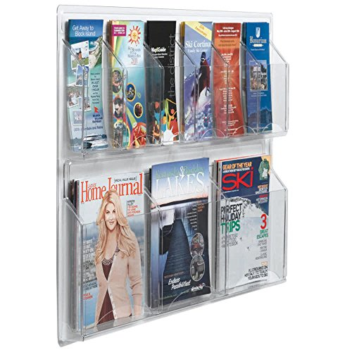"""TableTop King LRC106 30"""" x 23"""" Clear-Vu Combination Pamphlet and Magazine Display with 6 Pamphlet Pockets and 3 Magazine Pockets"""