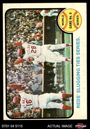 1973 Baseball (1973 Topps # 208 1972 World Series - Game #6 - Reds' Slugging Ties Series Johnny Bench / Denis Menke / Bobby Tolan Oakland / Cincinnati Athletics / Reds (Baseball Card) Dean's Cards 4 - VG/EX Athletics / Reds)