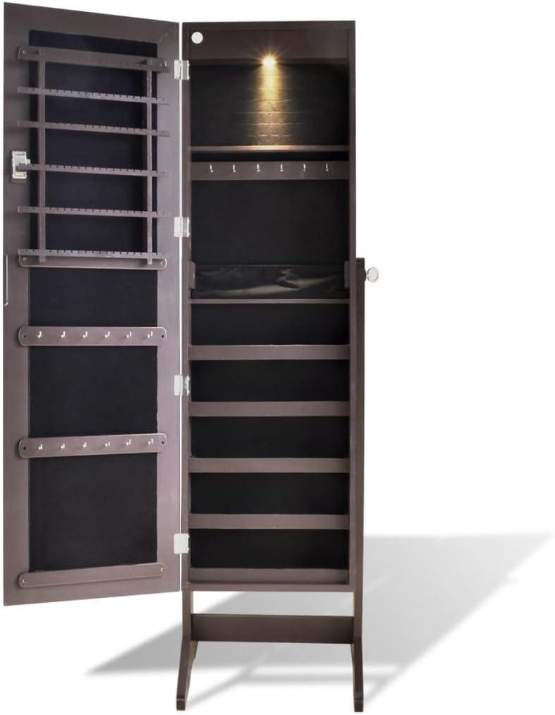 UnfadeMemory Espejo Joyero de Pie con Espejo Ajustable en /Ángulo,Armario Gabinete de Joya,Decoraci/ón de Hogar,con Llave Ornamental,23,5x107cm Blanco, con LED