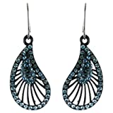 Blue on Black Flamenco Inspired Fan Shaped Earrings