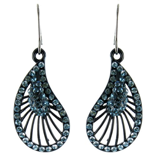 Blue on Black Flamenco Inspired Fan Shaped Earrings by Body Bling