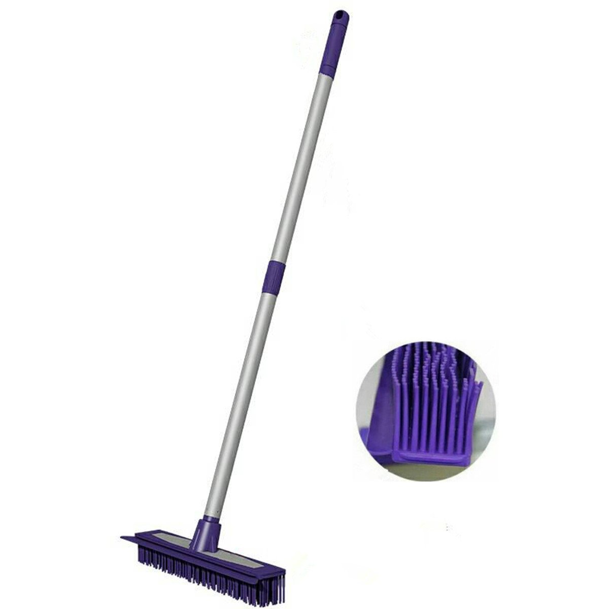 Rubber Push Broom-Extra Extendable Telescopic Long Handle Bristles Squeegee Broom Bristle Sweeper Removal Pet & Human Hair for Cleaning Hardwood Carpet Tile Windows Clean Water Resistant(Grey)