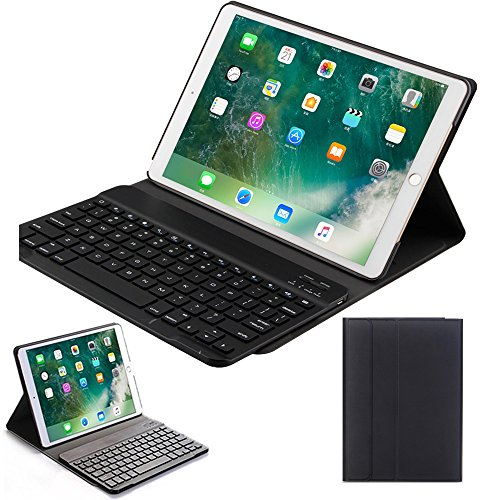 Price comparison product image MIYA iPad Pro 10.5 inch keyboard case, PU Leather Smart Case Stand Folio Cover with Detachable Wireless Bluetooth Keyboard for Apple ipad pro 10.5-Black