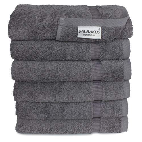 SALBAKOS Luxury Hotel & Spa Turkish Cotton 6-Piece Eco-Friendly Hand Towel Set 16 x 30 Inch, Gray