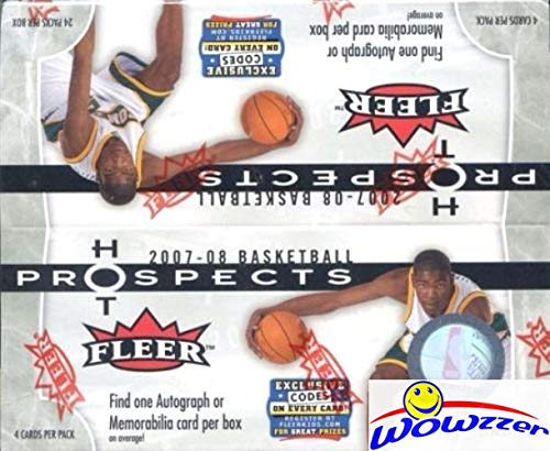 2007 Basketball - 2007/08 Fleer Hot Prospects NBA Basketball Factory Sealed HUGE 24 Pack Retail Box with AUTOGRAPH or MEMORABILIA! Look for Autographs of Kevin Durant ROOKIE, Michael Jordan & Many More! WOWZZER!