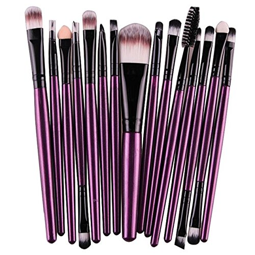Goddessvan 15 Pcs Makeup Brush Set Professional Eyeliner Eye Shadow Foundation Eyebrow Lip Makeup Brushes Powder Brushes Tool (Purple)