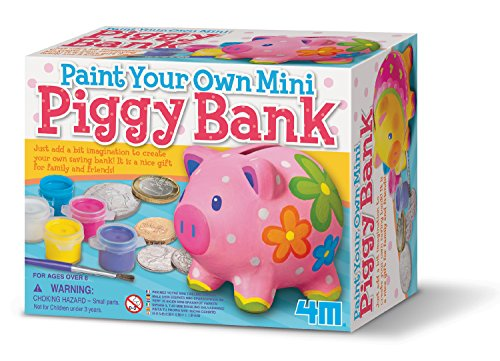 4M Paint Your Own Mini Pig Bank (Pig Clock Bank)