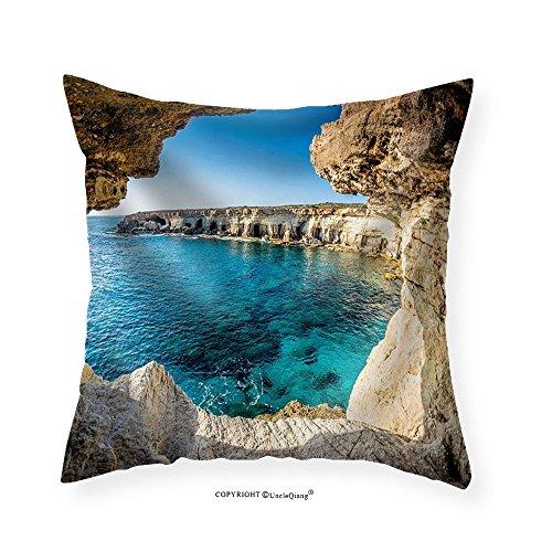 VROSELV Custom Cotton Linen Pillowcase Sea Caves near Ayia Napa Cyprus. - Fabric Home Decor 12