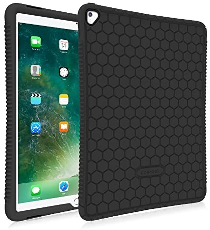 FINTIE Case for iPad Pro 12.9 (2nd Gen) 2017 / iPad Pro 12.9 (1st Gen) 2015 – [Honey Comb Series] Lightweight Anti Slip Kids Friendly Shock Proof Silicone Protective Cover, Black