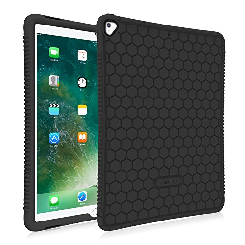 Fintie iPad Pro 12.9 Case - [Honey Comb Series] Light Weight Anti Slip Kids Friendly Shock Proof Silicone Protective Cover for Apple iPad Pro 12.9 2nd Gen 2017 / 1st Gen 2015, Black