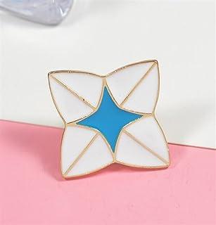 Upstudio Distintivi di Gioielli di novità Distintivo di Pulsante Creativo Fiore di Origami del Fiore del Fumetto (Colore Blu + Bianco)