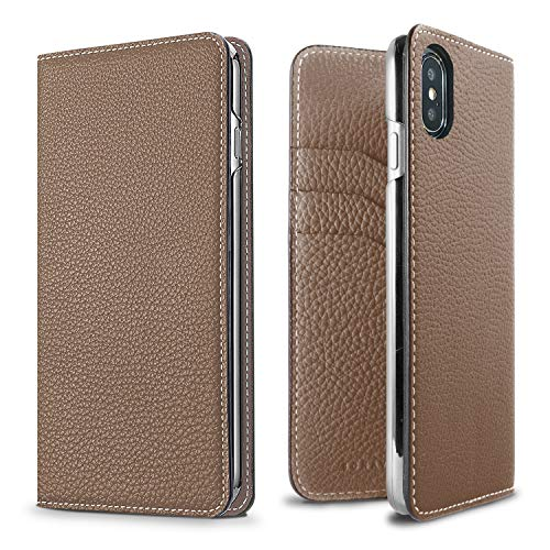 BONAVENTURA Diary Leather Wallet iPhone Case [Compatible with iPhone XR, Etoupe]
