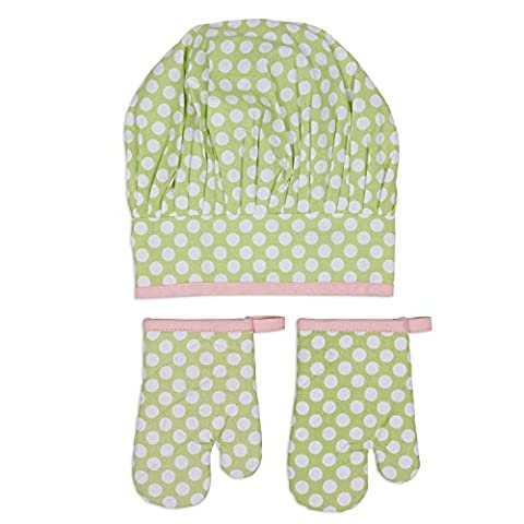 DII 100% Cotton, Adorable, Polka Dot, Child Chef Hat & Oven Mitt Set For Baking, Cooking, or Imagination - Childrens Chef Hat