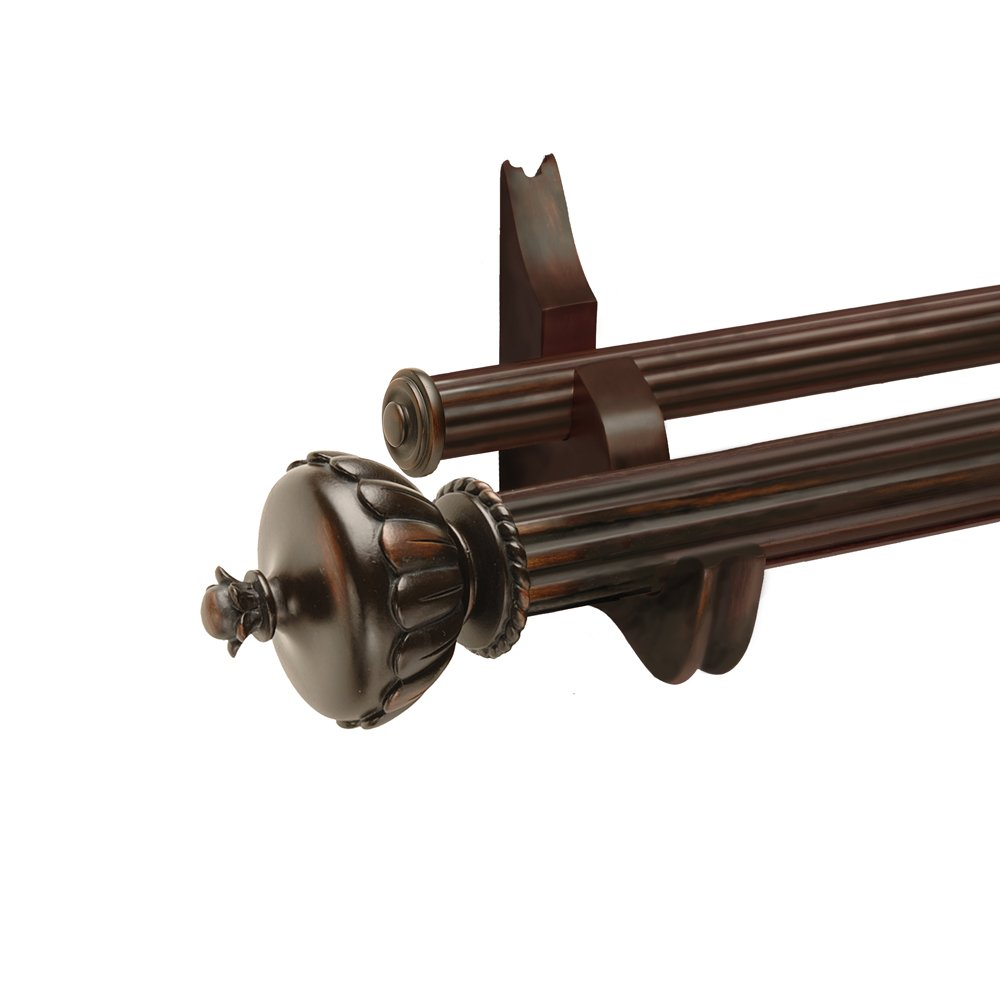 Designer Hardware Graham 6-Feet Double Drapery Rod Set in Walnut Finish with 2-Inch and 1-3/8-Inch Fluted Wood Poles and Decorative Resin Finials