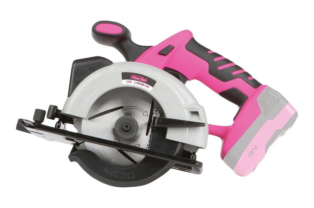 The Original Pink Box PB18VCIR Bare Tool Cordless 18-Volt Li-Ion Circular Saw, Battery Not Included