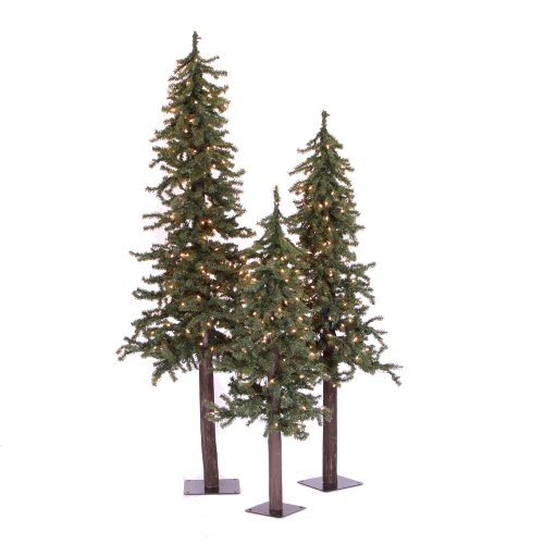 (Vickerman Unlit Natural Alpine Tree Set with three trees sized 4', 5', and 6')