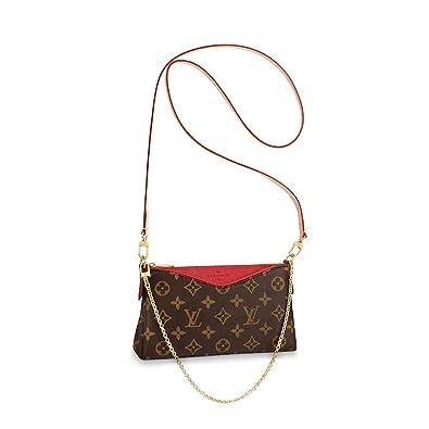 c9d6bb6ea0a LLVS Women's Monogram Canvas Pallas Clutch Handbag Made in France (Cherry  red)