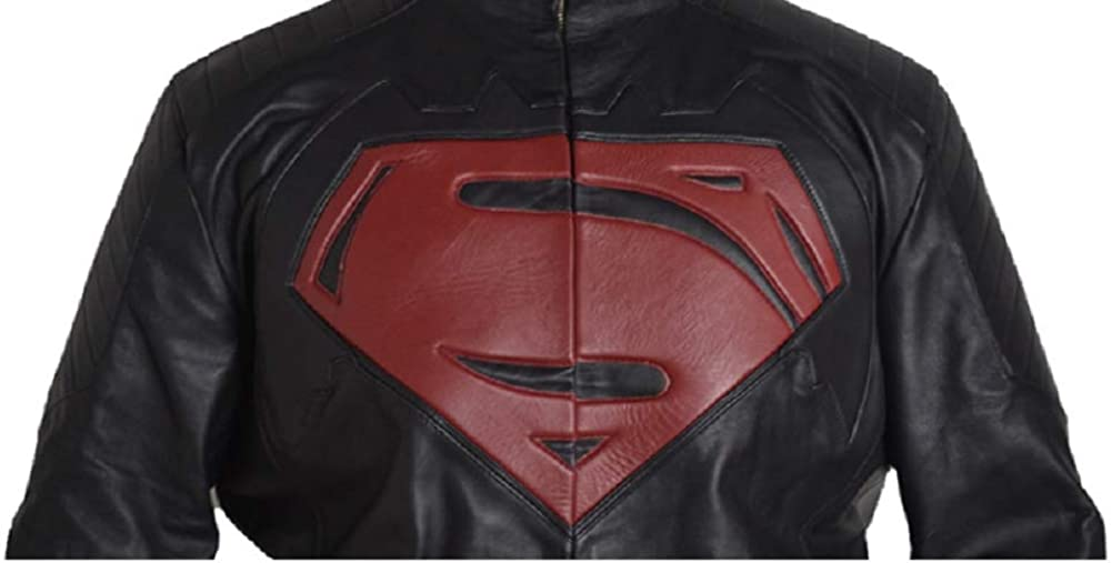 Stormwise Mens Fashion Super vs Bat Man Real Leather Jacket
