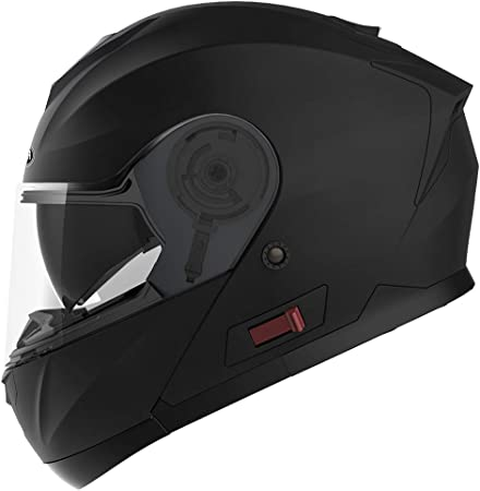 Men and Women Motorcycle Full Face Helmet DOT and ECE Approved Matte Black YEMA YM-833 Motorbike Moped Street Bike Racing Crash Helmet with Clear Visor for Adult XXL