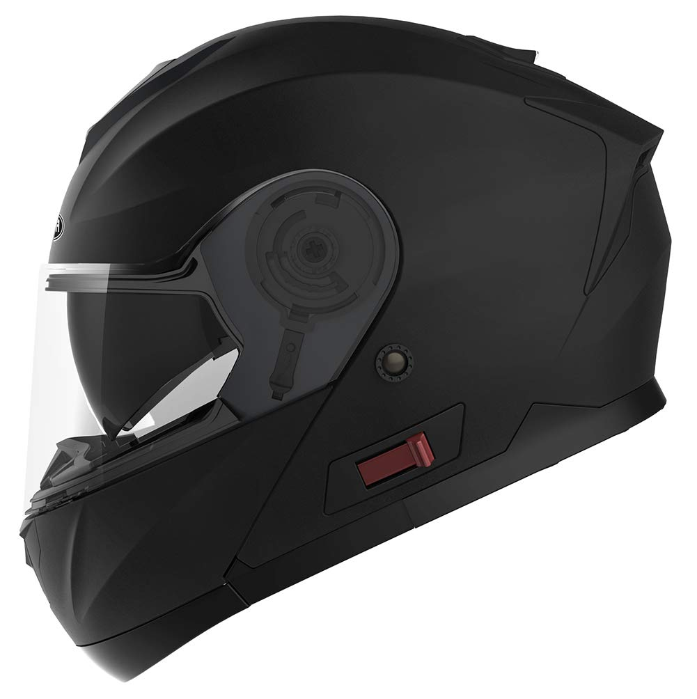 Matt Black YEMA YM-926 Full Face Racing Motorcycle Helmet with Sun Visor for Adult Men Women M Motorbike Crash Modular Helmet ECE Approved