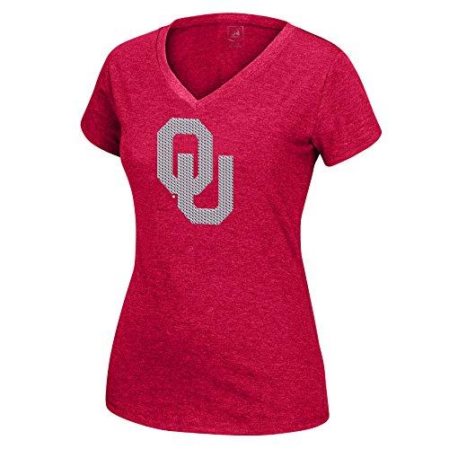 Oklahoma Ladies T-shirt - J America NCAA Oklahoma Sooners Women's Sequin Logo Favorite Tee, Cardinal, X-Large