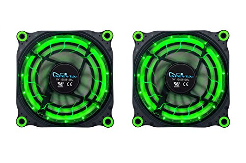APEVIA 212L-DGN 120mm Silent Black Case Fan with 15 x Green LEDs & 8 x Anti-Vibration Rubber Pads (2 Pk) - Best Value