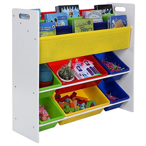 Songmcis weiß Kinderregal Bücherregal mit 6 farbigen Boxen GKR03W