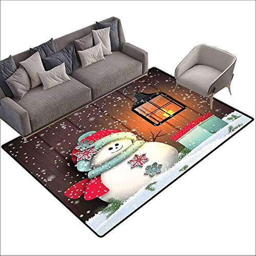 Music Box Oriental Garden - Polyester Rubber Door Mats Christmas,Cute Snowman with Santa Hat in The Garden with a Gift Box and Lantern Image,QueenFull,Brown White 60