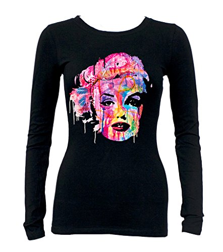 Junior's Dripping Neon Graffiti Marilyn Monroe Tee Black Long Sleeve T-Shirt Large Black ()