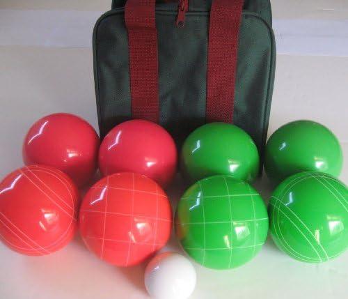 一意プレミアム品質Epco Tournamentセット、ライトレッドとグリーンボッチェボール – 110 mm。バッグincl。。。